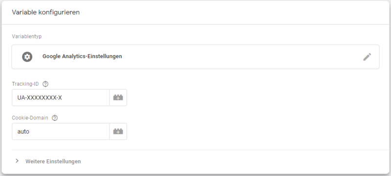 Ansicht des Google Tag Manager Variable ohne IP-Anonymisierung